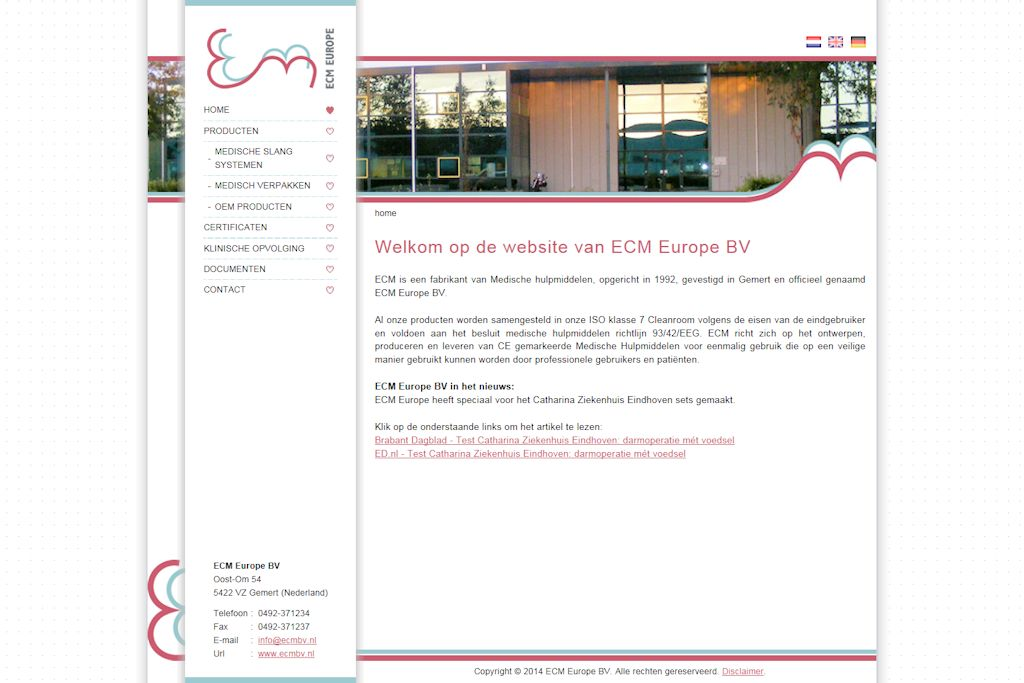 ECM Europe BV - Website