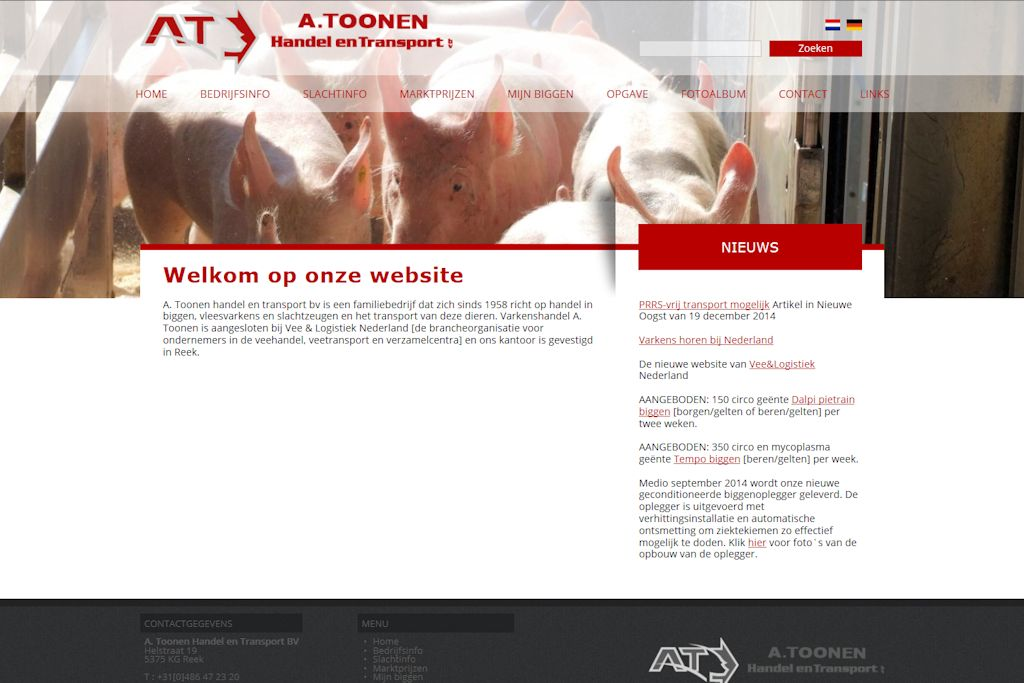 A. Toonen Handel en Transport - Website